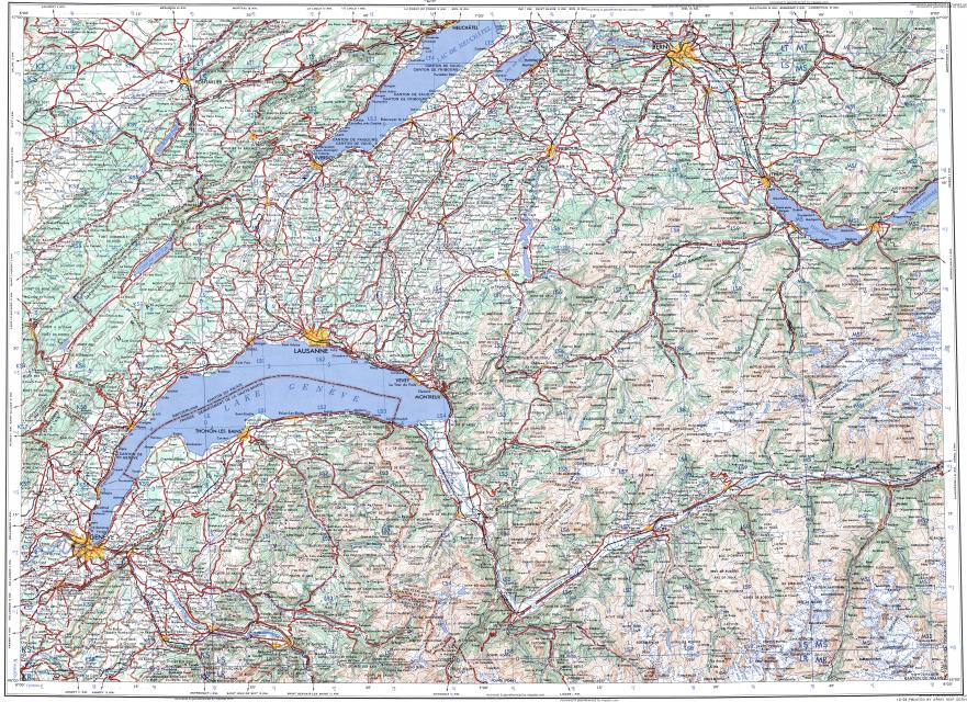 Download Topographic Map In Area Of Geneva Bern Lausanne - Lausanne city map