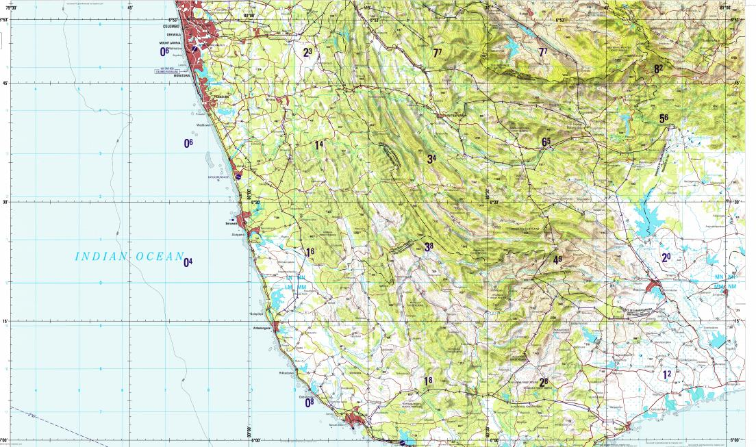 Download topographic map in area of Moratuwa Dehiwala Galle
