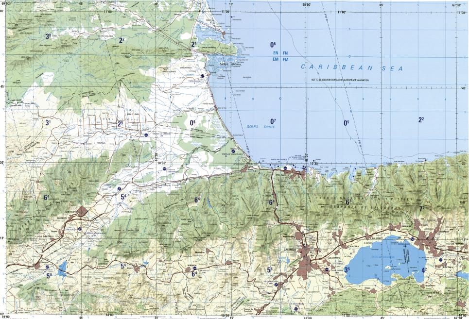 Download topographic map in area of Valencia Maracay Guacara