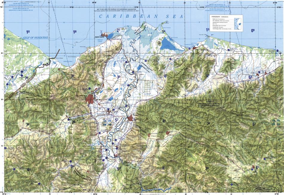 Download topographic map in area of San Pedro Sula El Progreso