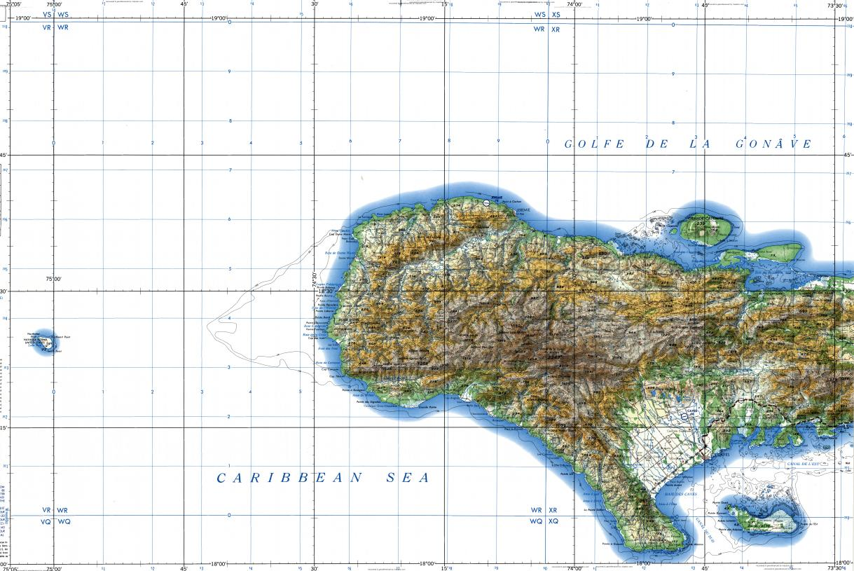 Download topographic map in area of Jeremie Les Cayes Grande
