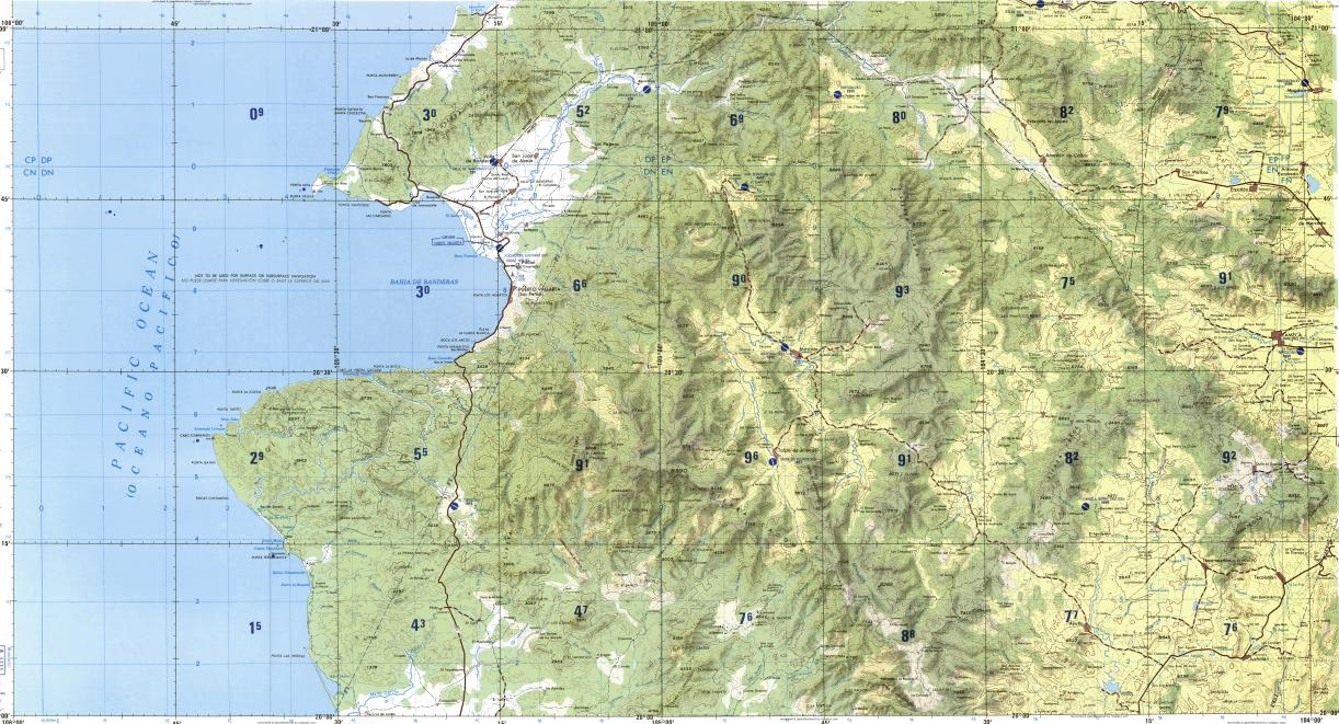 Download topographic map in area of Puerto Vallarta Ameca Mascota