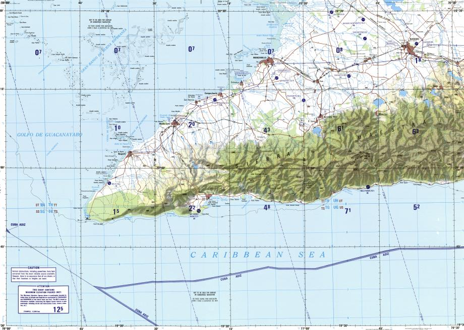 Download topographic map in area of Manzanillo Bayamo Niquero