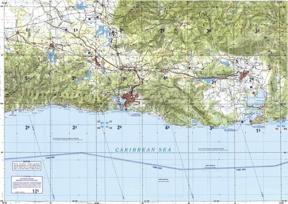 Caribbean Topographic Map.Download Topographic Map In Area Of Guantanamo Santiago De Cuba
