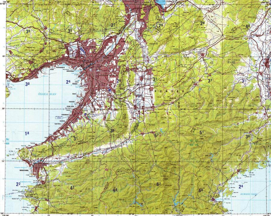 Download topographic map in area of Osaka, Kobe, Kyoto - mapstor.com
