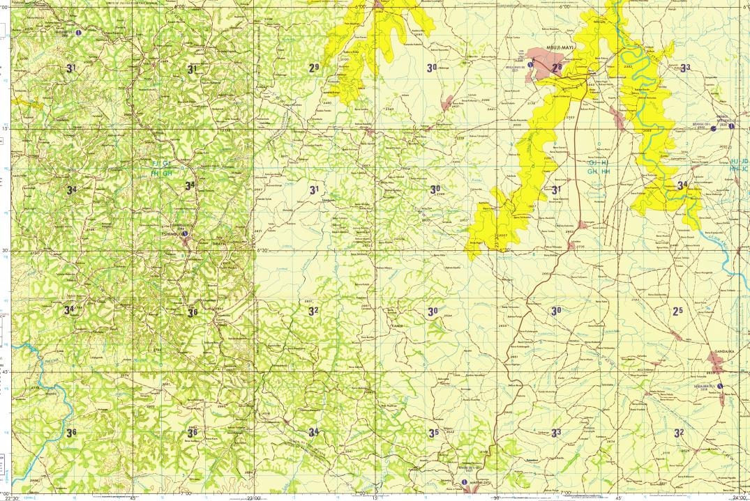 Download topographic map in area of Mbujimayi Tshikole Bena