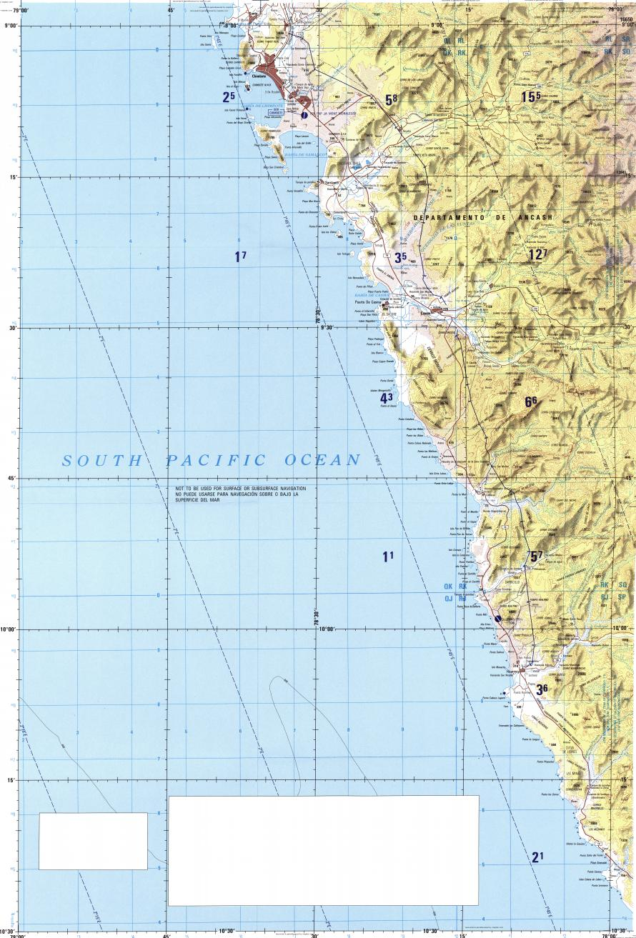 Download topographic map in area of Chimbote Casma Huarmey