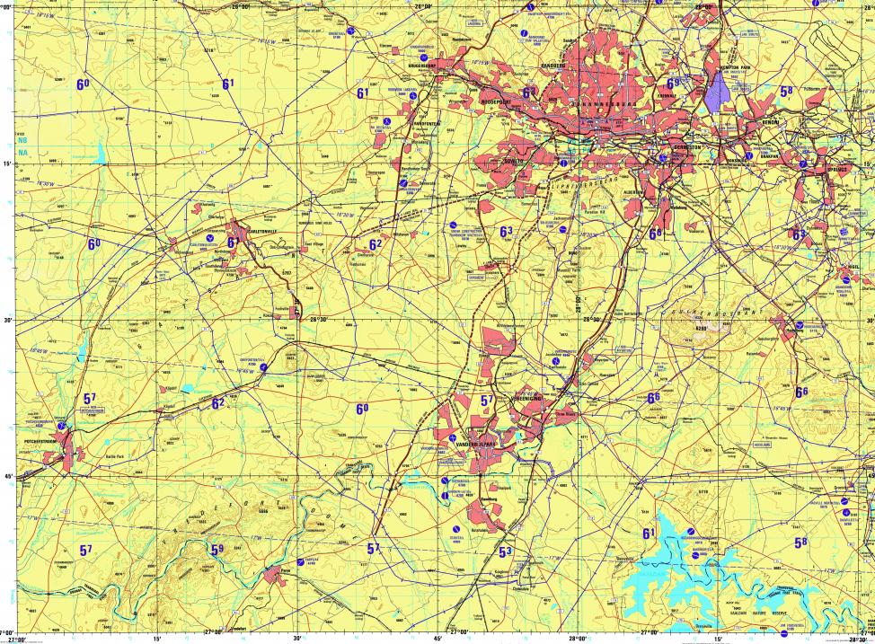Download topographic map in area of Johannesburg Soweto