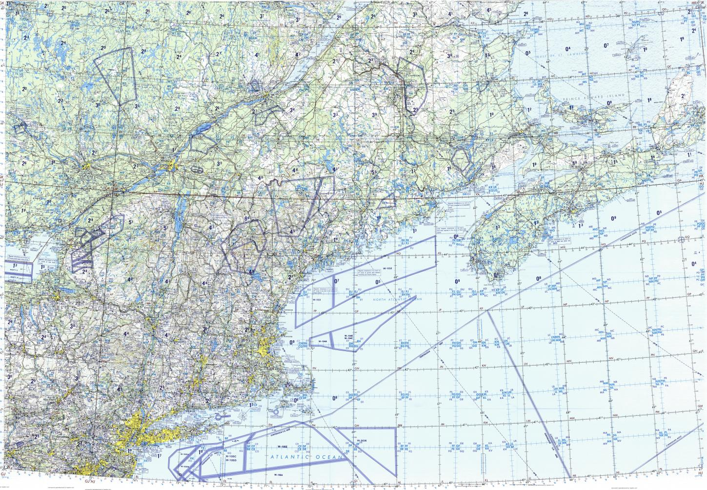 Download topographic map in area of New York Montreal Boston