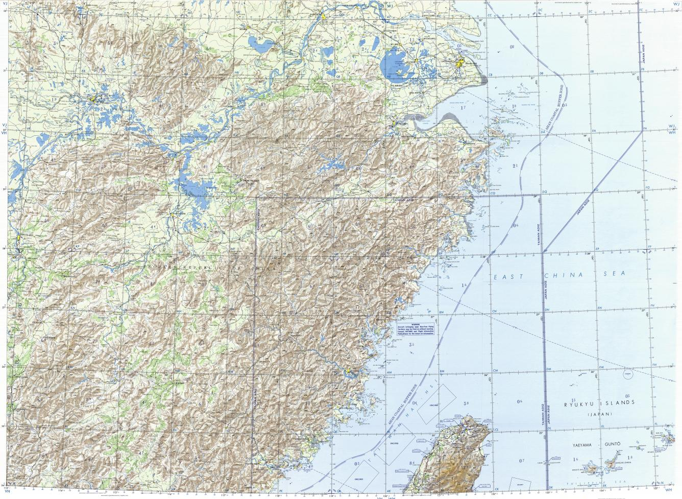 Download topographic map in area of Shanghai Taipei Wuhan