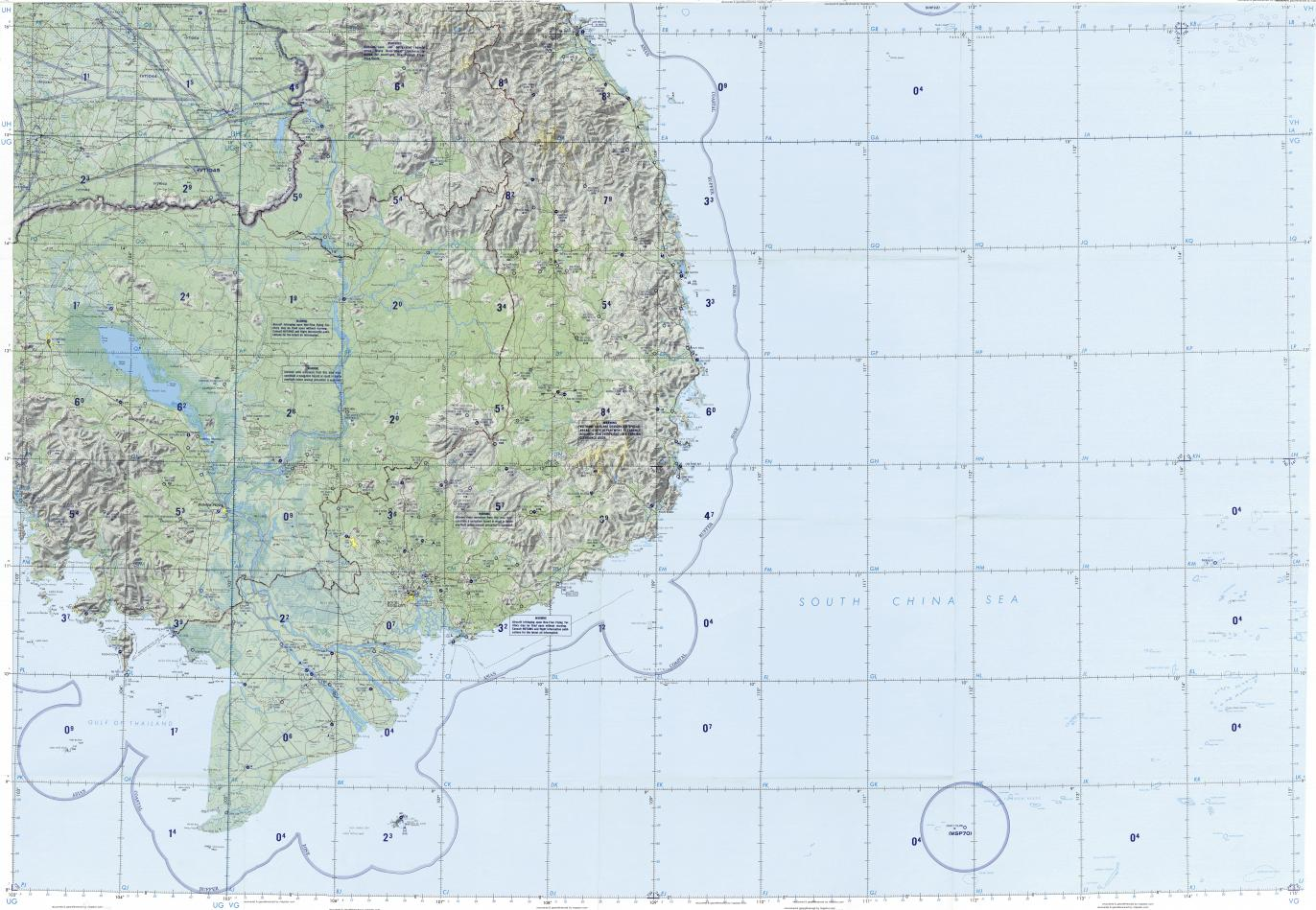 Download topographic map in area of Ho Chi Minh City Nha Trang Can