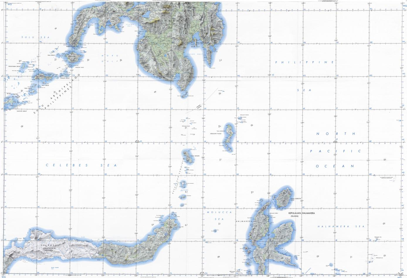Download topographic map in area of Davao, Zamboanga ...