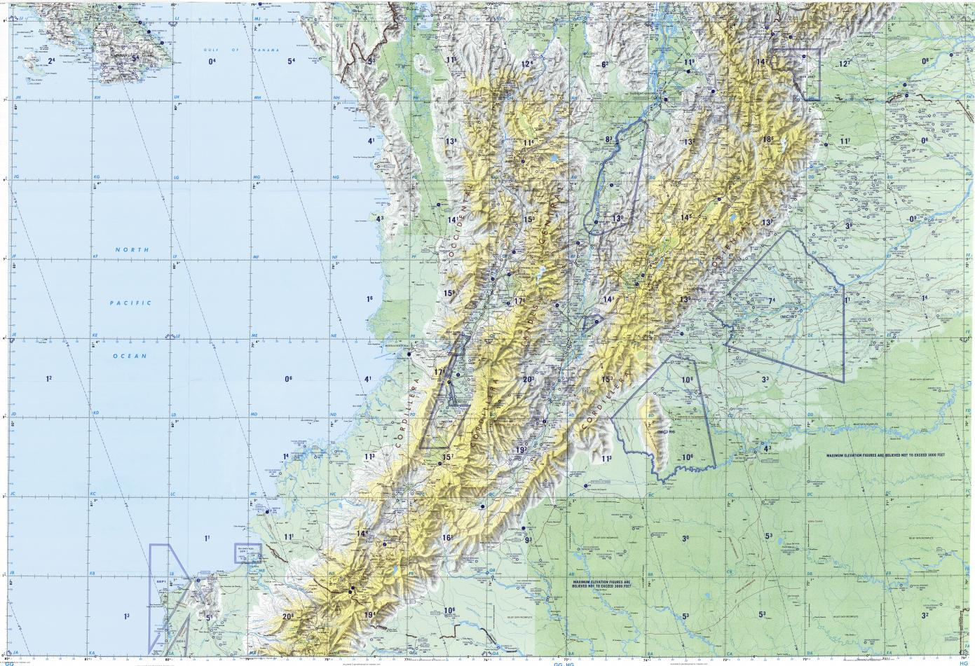 Topographic Map Of Colombia.Download Topographic Map In Area Of Bogota Medellin Cali Mapstor Com