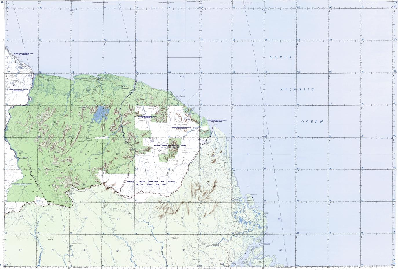 Download topographic map in area of Paramaribo Macapa Cayenne