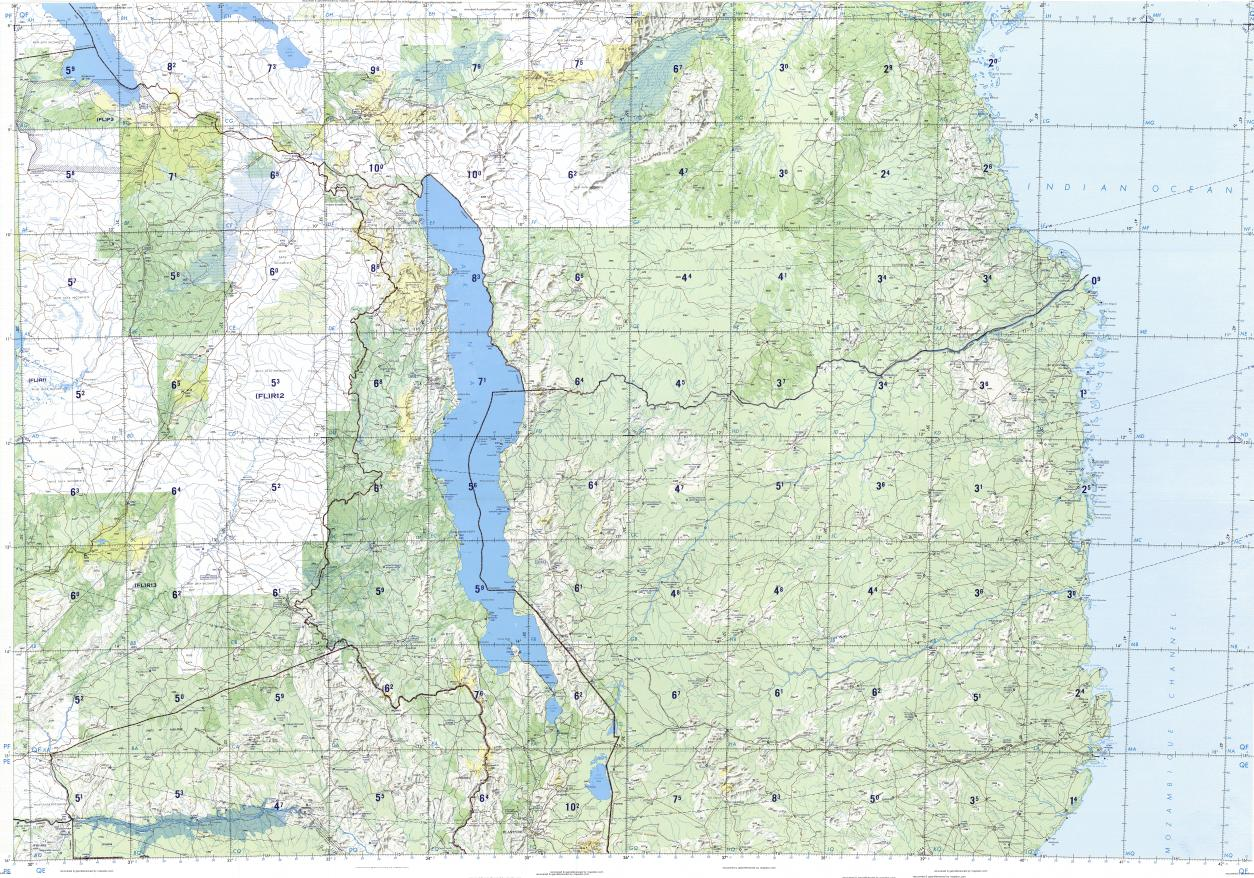 Download topographic map in area of Lilongwe Blantyre Nacala