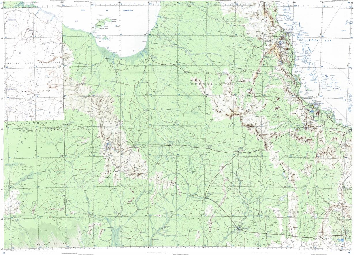 Download topographic map in area of Cairns Townsville Mount Isa