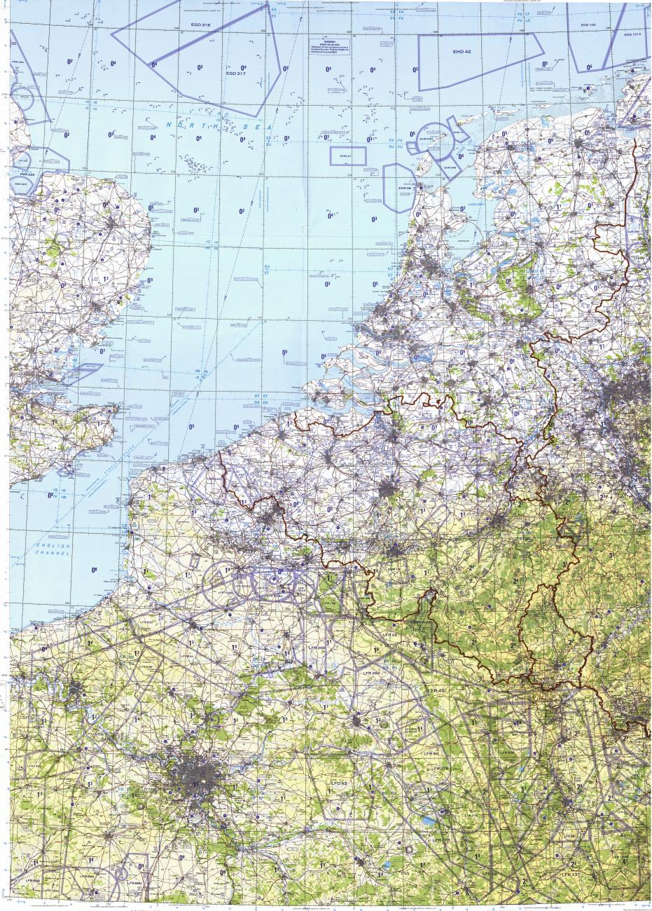 Download topographic map in area of Paris Brussels Amsterdam