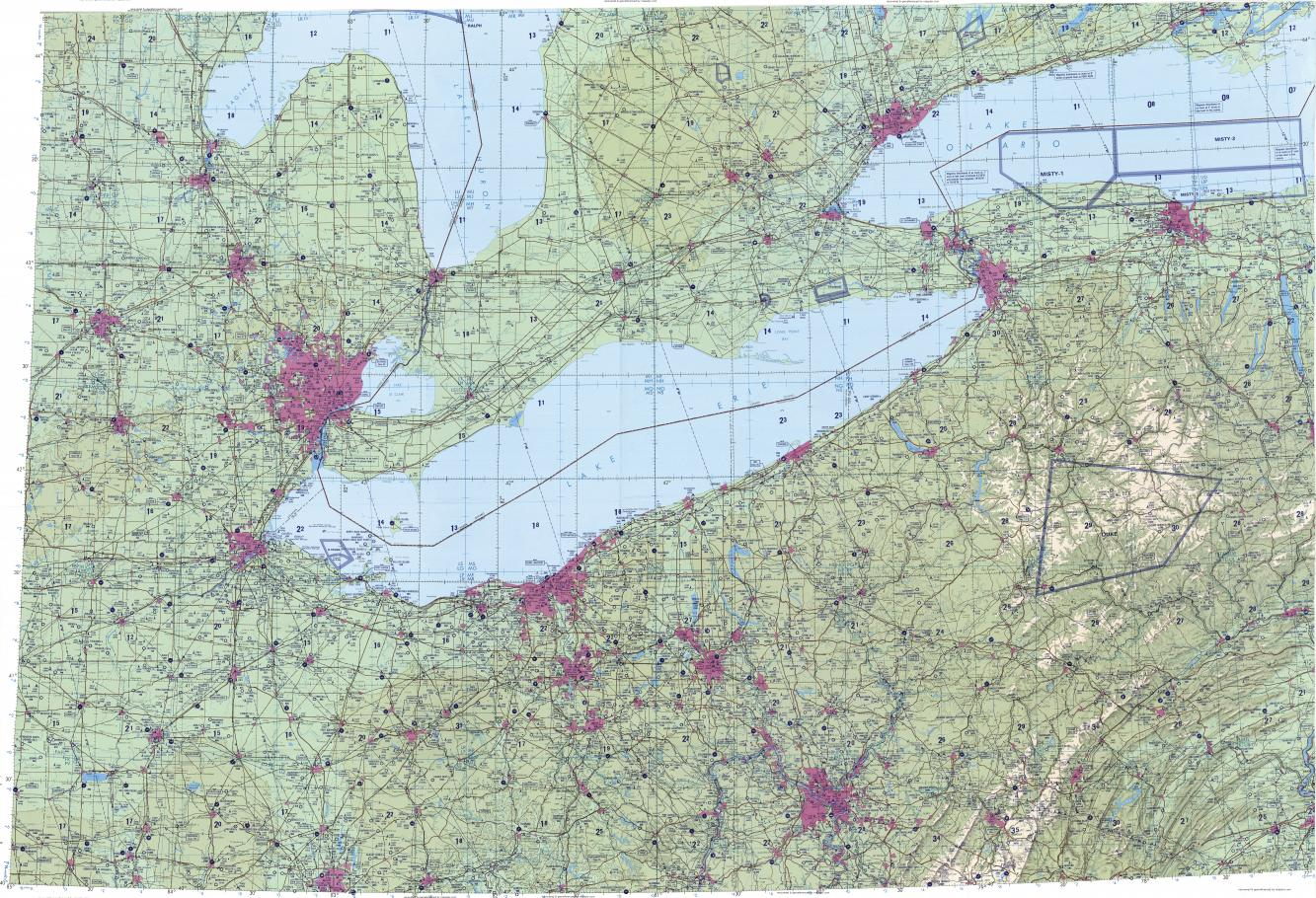 Download Topographic Map In Area Of Detroit Toronto Cleveland - Lake erie topographic map