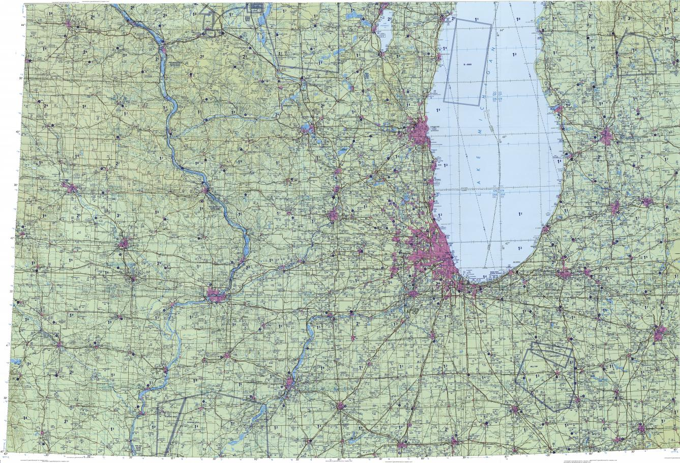 Download topographic map in area of Chicago, Milwaukee, Grand