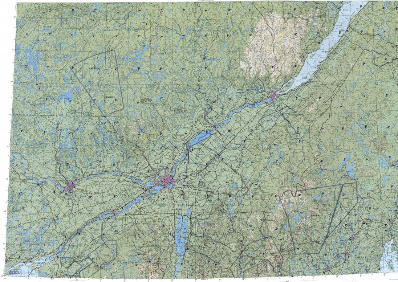 Quebec Topographic Map.Download Topographic Map In Area Of Montreal Ottawa Quebec