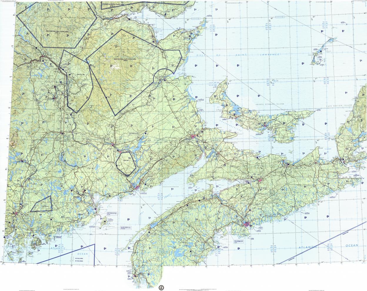 Download topographic map in area of Halifax Saint John Moncton