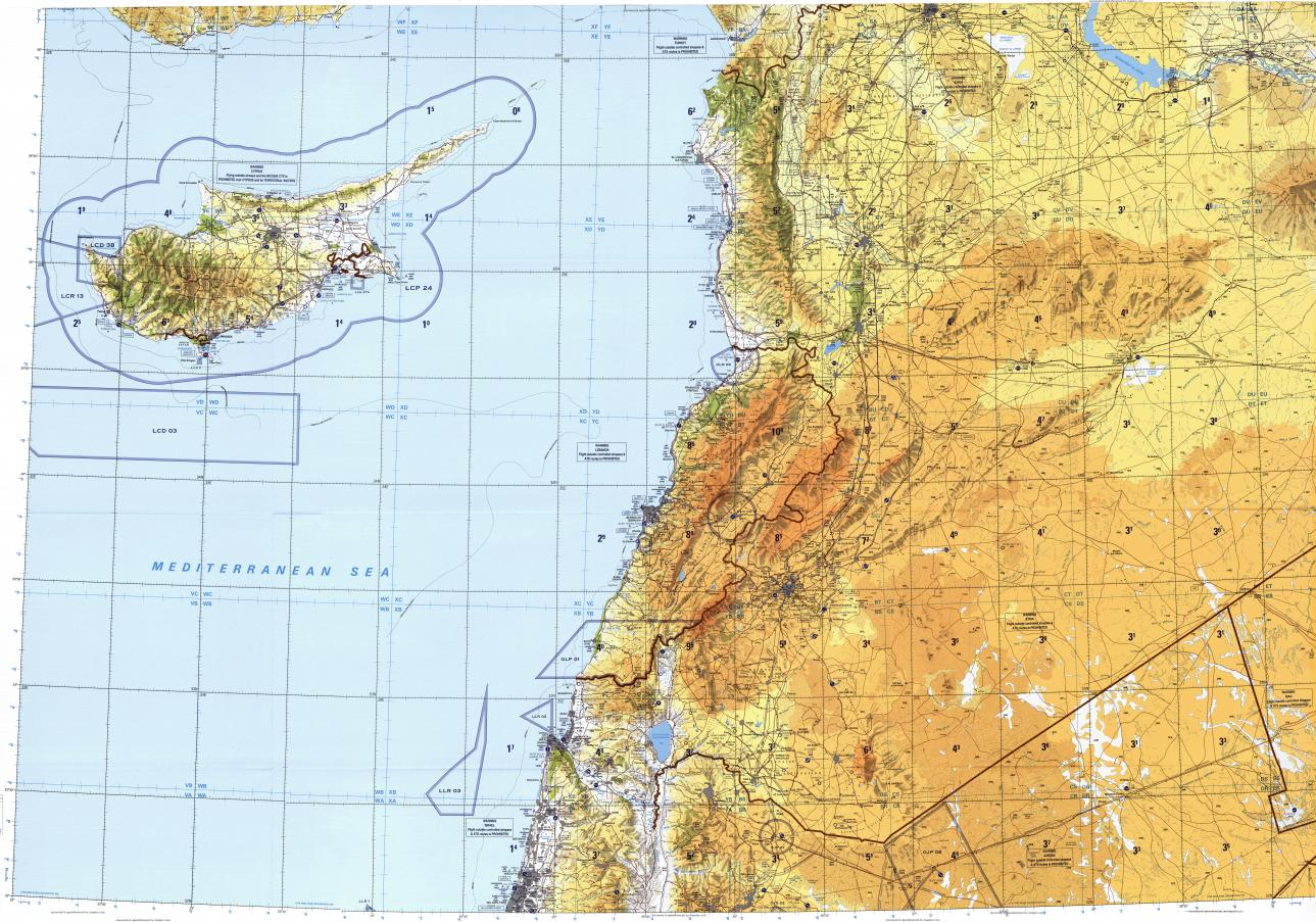 Download topographic map in area of Damascus Tel Avivyafo Beirut
