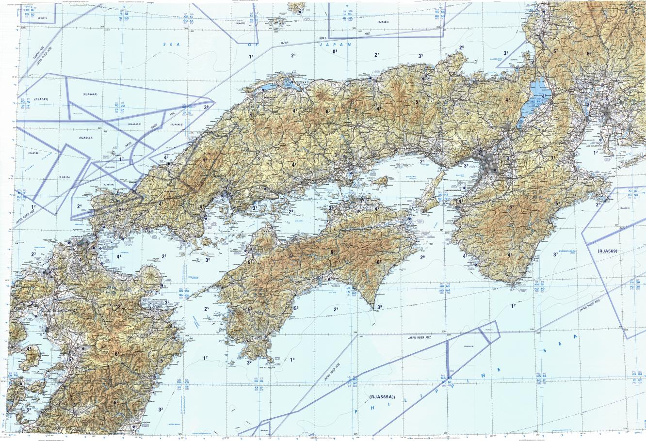 Download topographic map in area of Osaka, Nagoya, Hiroshima ...