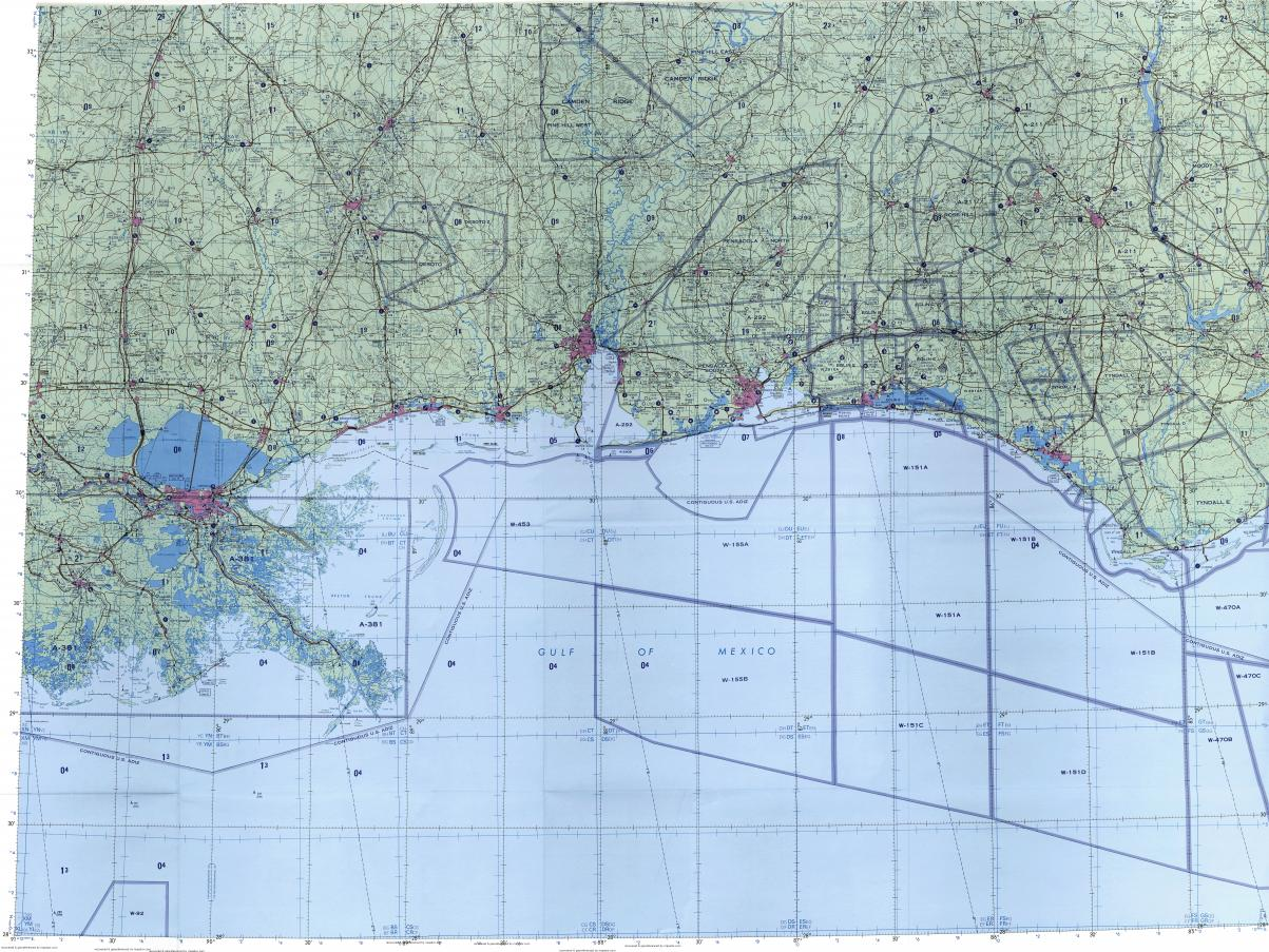 Download Topographic Map In Area Of New Orleans Pensacola Mobile