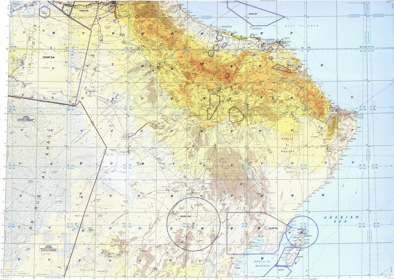 Download topographic map in area of Muscat Tharwaniyah Al Wasil
