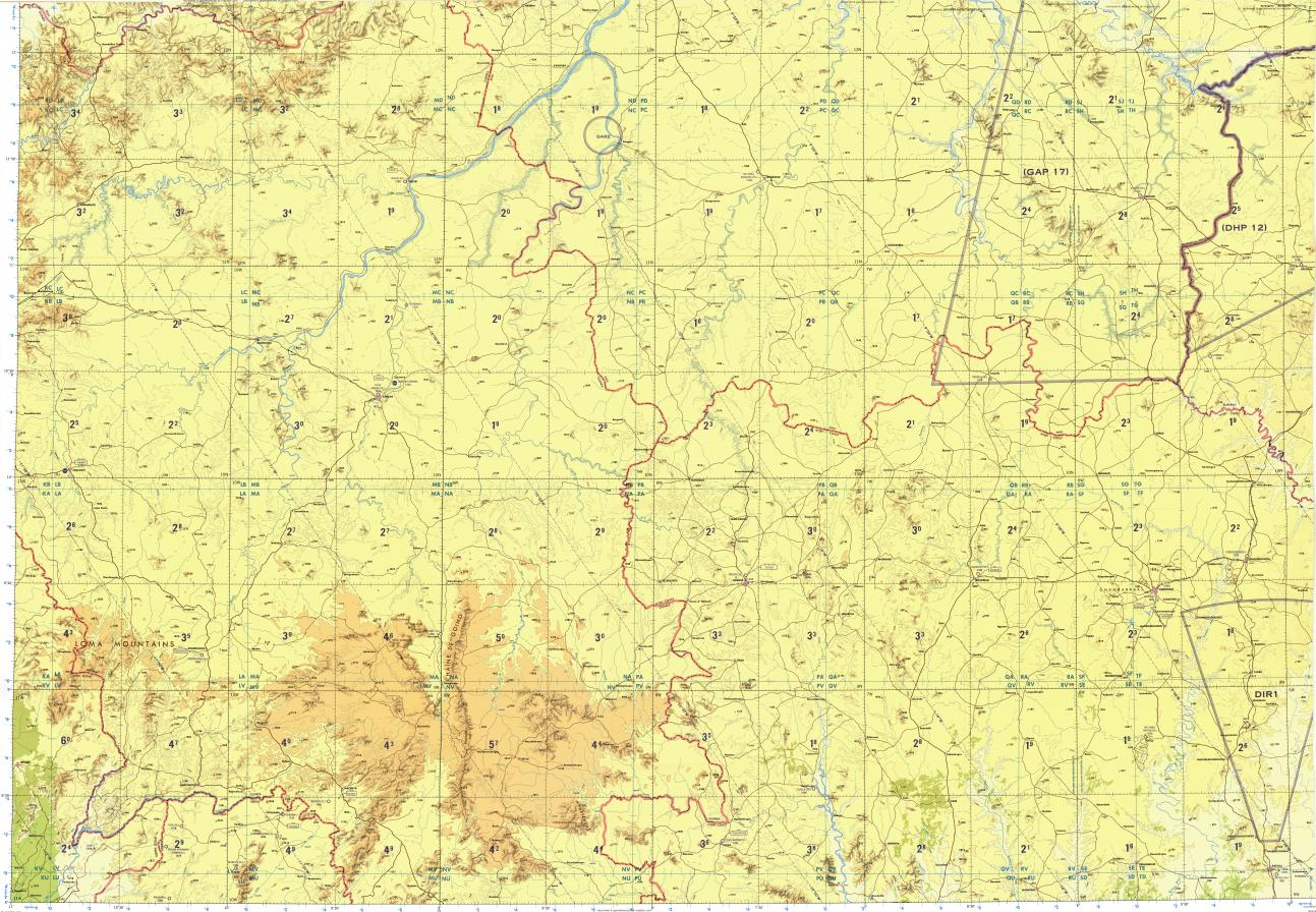 Download topographic map in area of Odienne Sefadu Kankan
