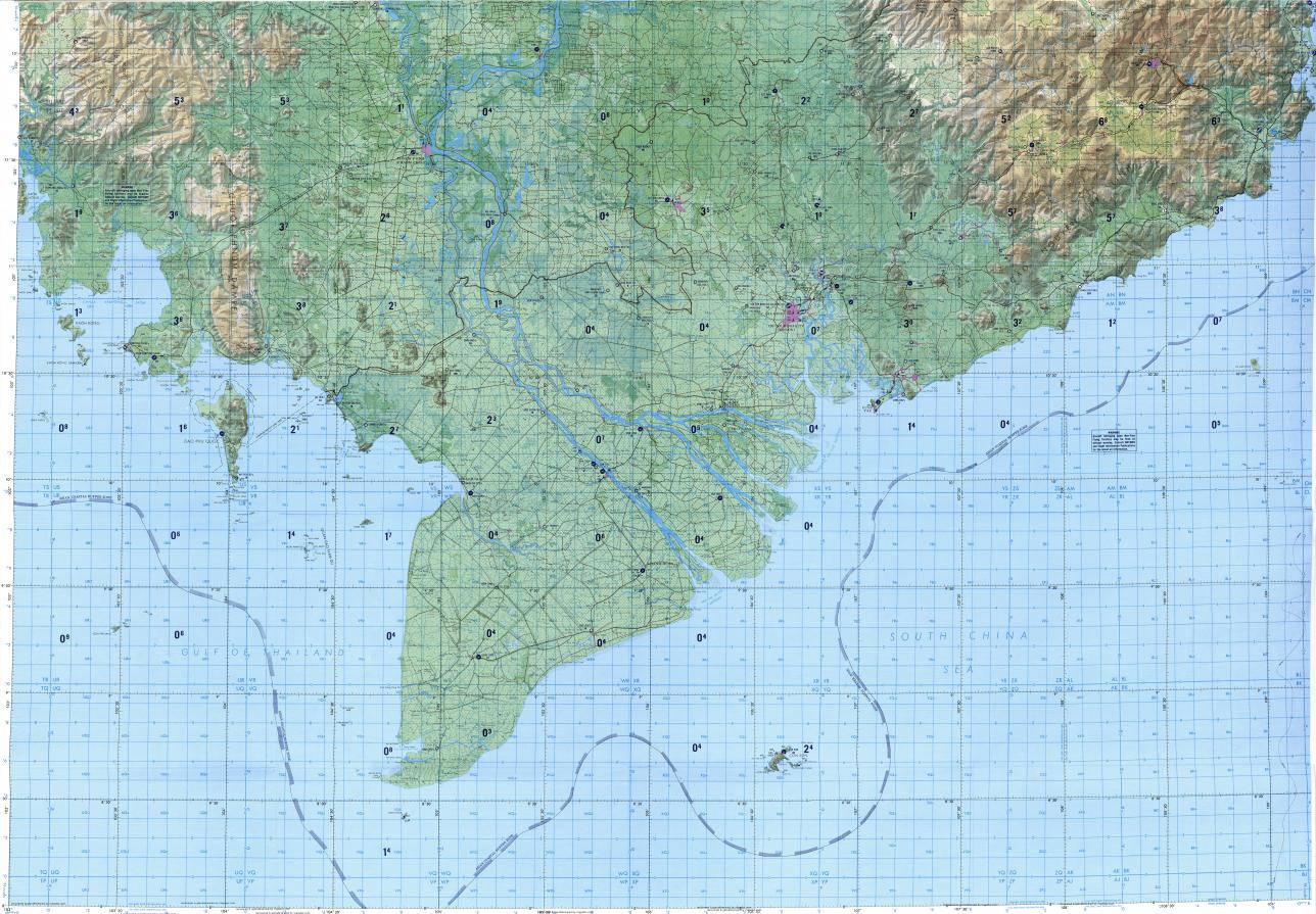 Download topographic map in area of Ho Chi Minh City Phnom Penh
