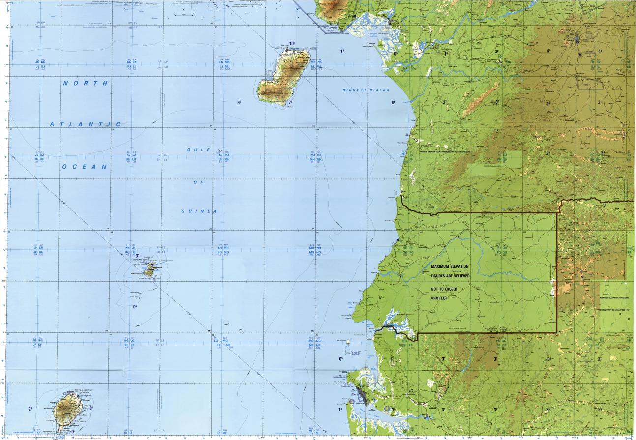 Download topographic map in area of Yaounde Libreville Edea