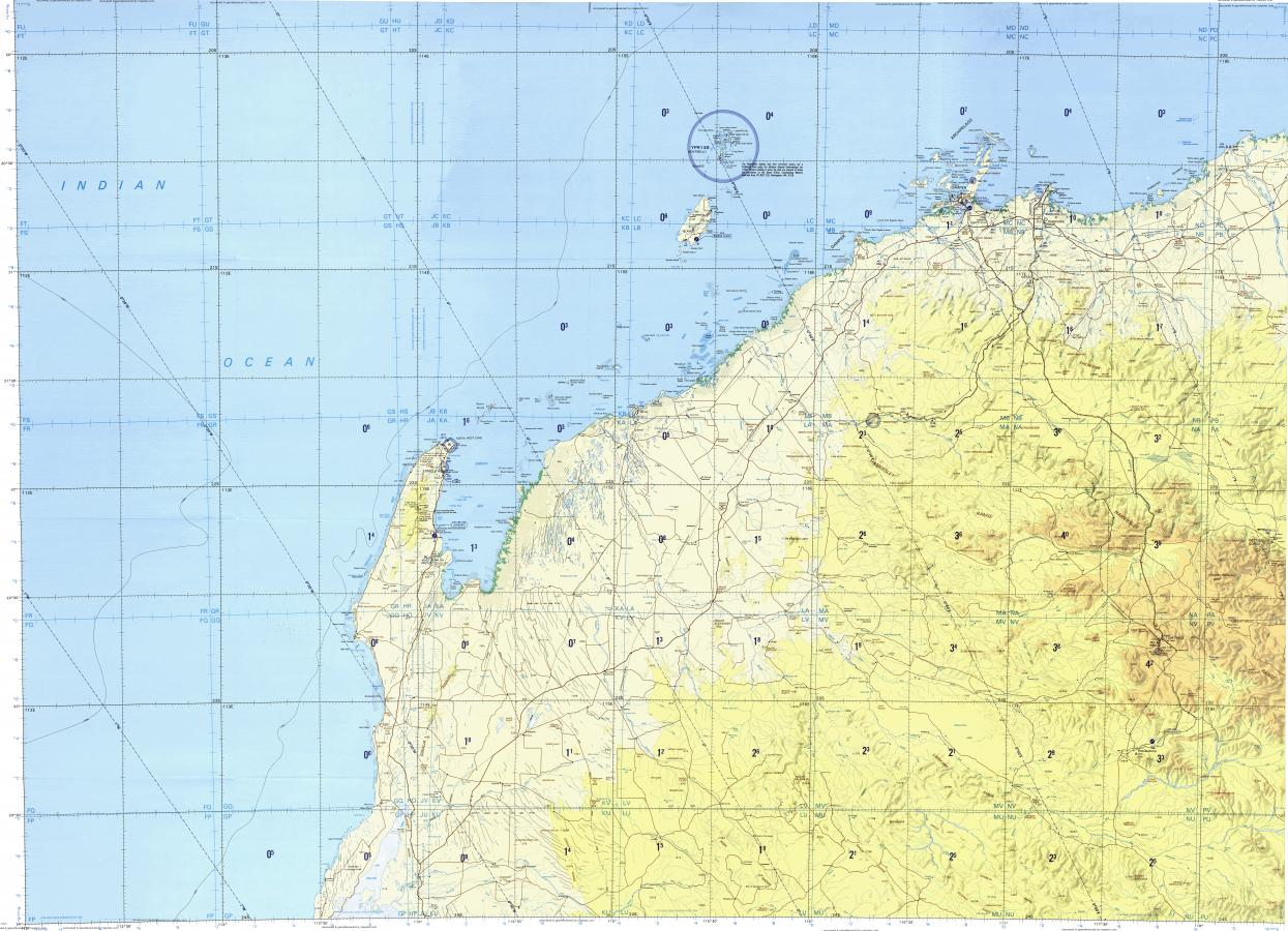 Download topographic map in area of Dampier Karratha East Lewis I