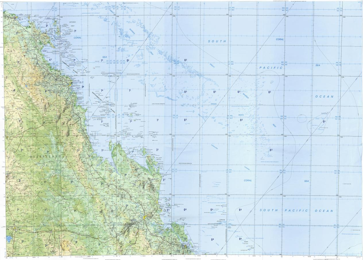 Download topographic map in area of Mackay Rockhampton Gladstone