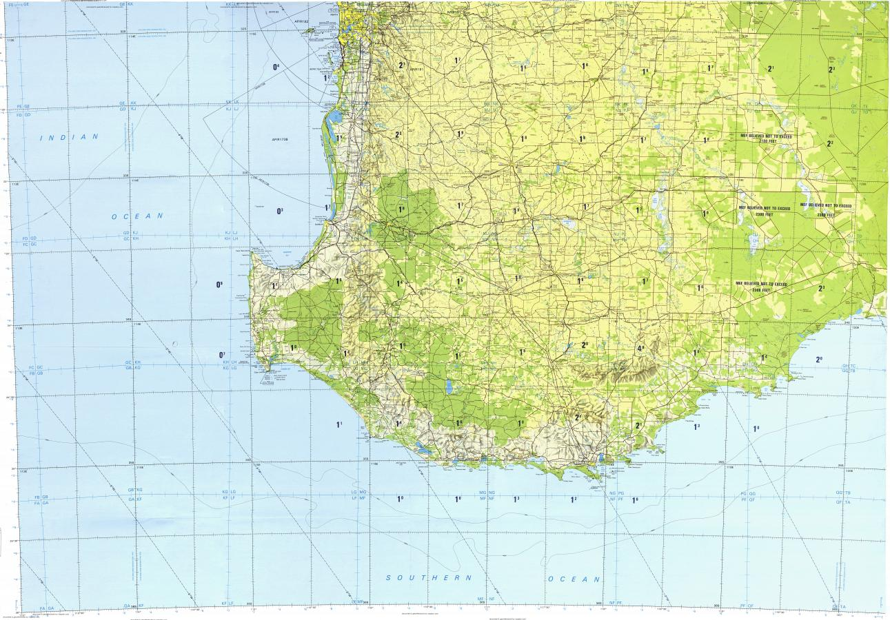 Download topographic map in area of Fremantle Bunbury Collie