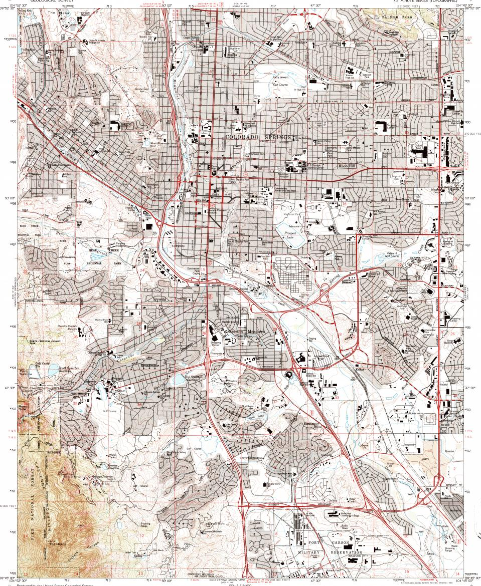 Topographic Map Colorado Springs.Download Topographic Map In Area Of Colorado Springs Stratmoor