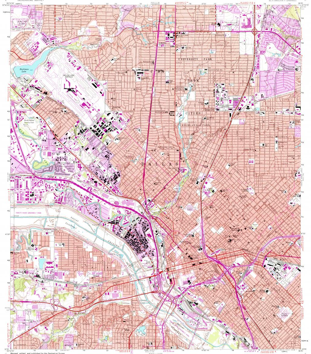 Download Topographic Map In Area Of Dallas University Park