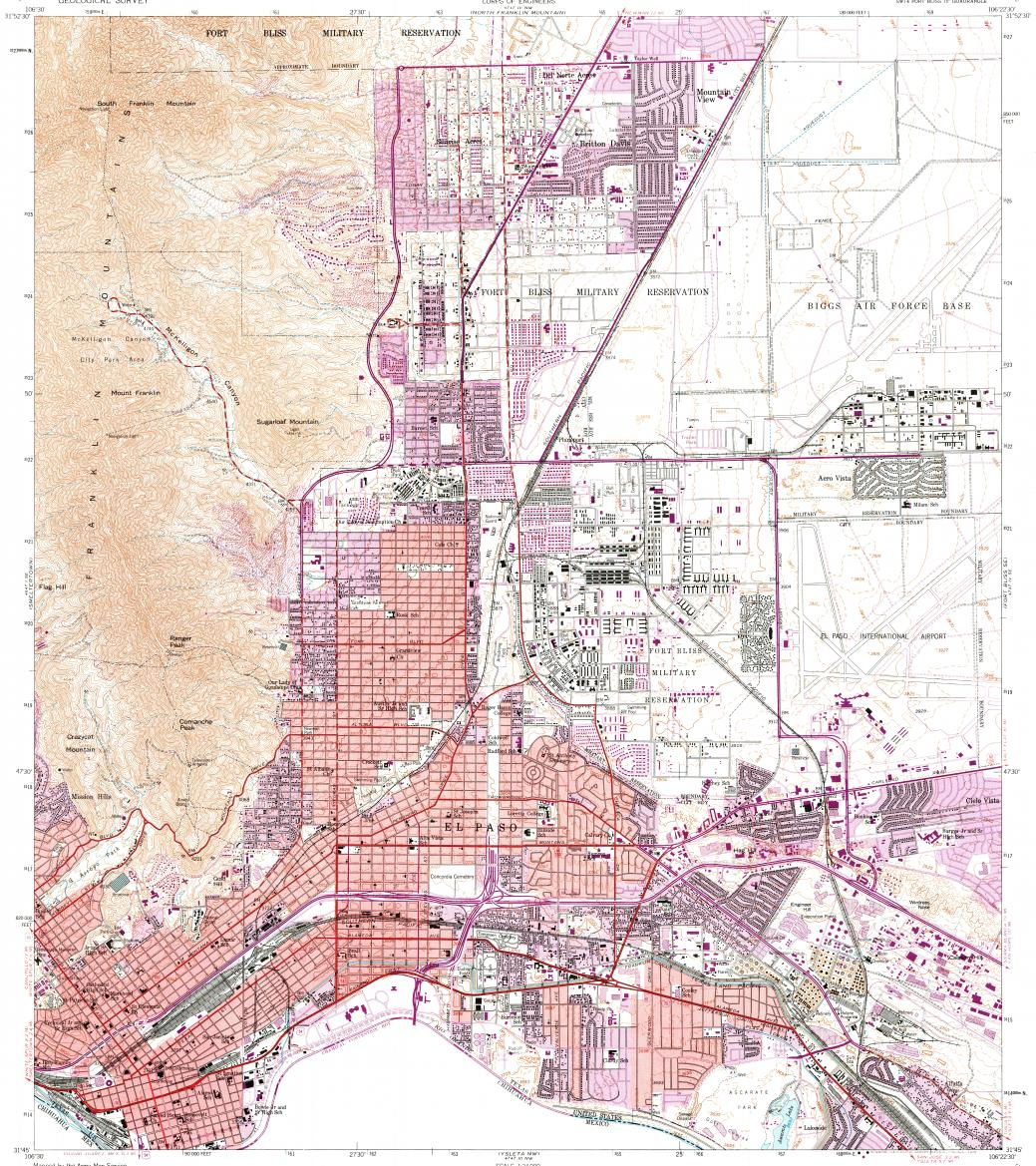 Download topographic map in area of El Paso, Fort Bliss - mapstor.com