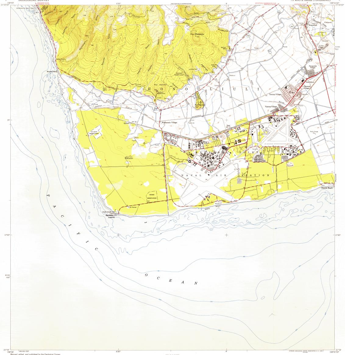 Download topographic map in area of Makakilo City Barbers Point