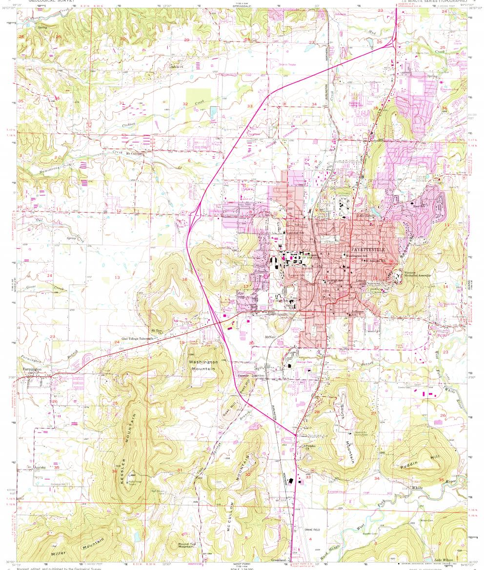 Download topographic map in area of Fayetteville, Farmington ...