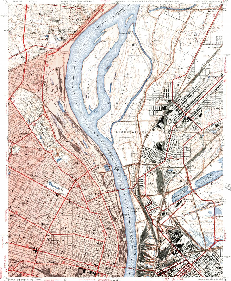 Download Topographic Map In Area Of St Louis Granite City