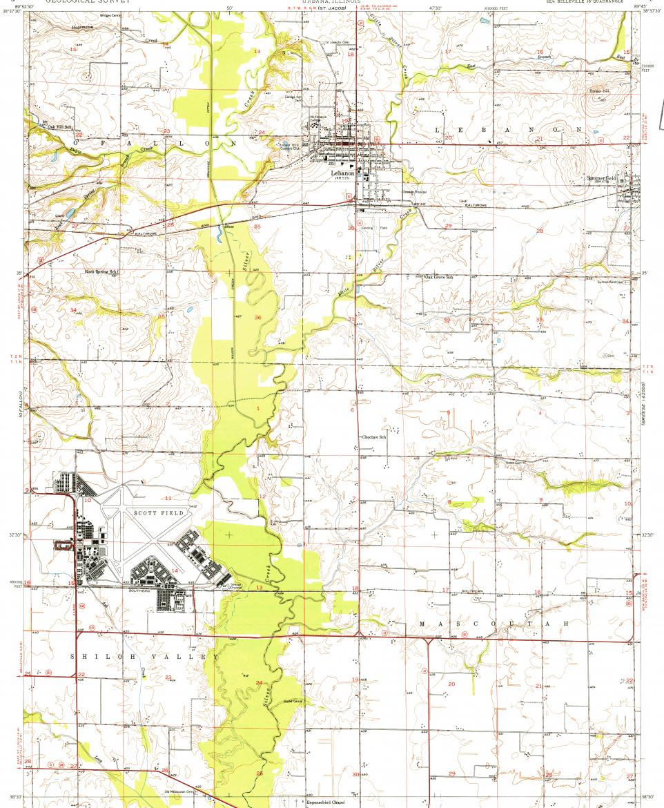 Download topographic map in area of Scott Afb, Mascoutah ...