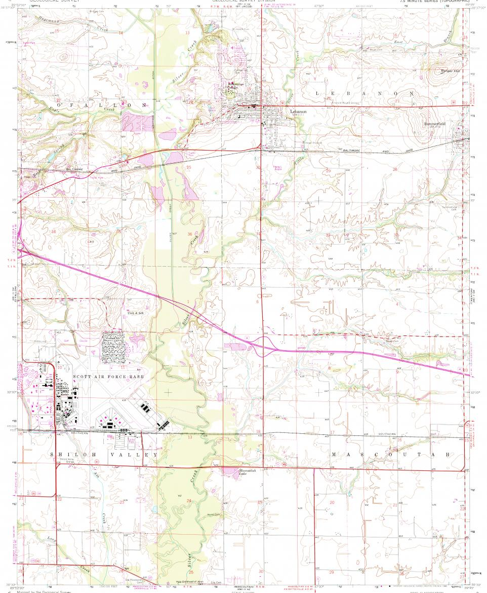 Download topographic map in area of Mascoutah, Scott Afb ...