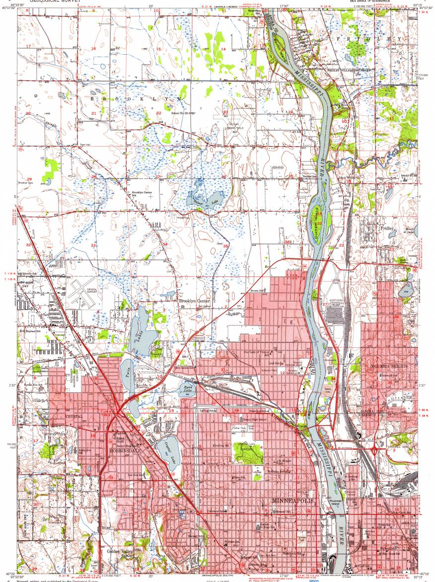 Download Topographic Map In Area Of Brooklyn Park Fridley Brooklyn