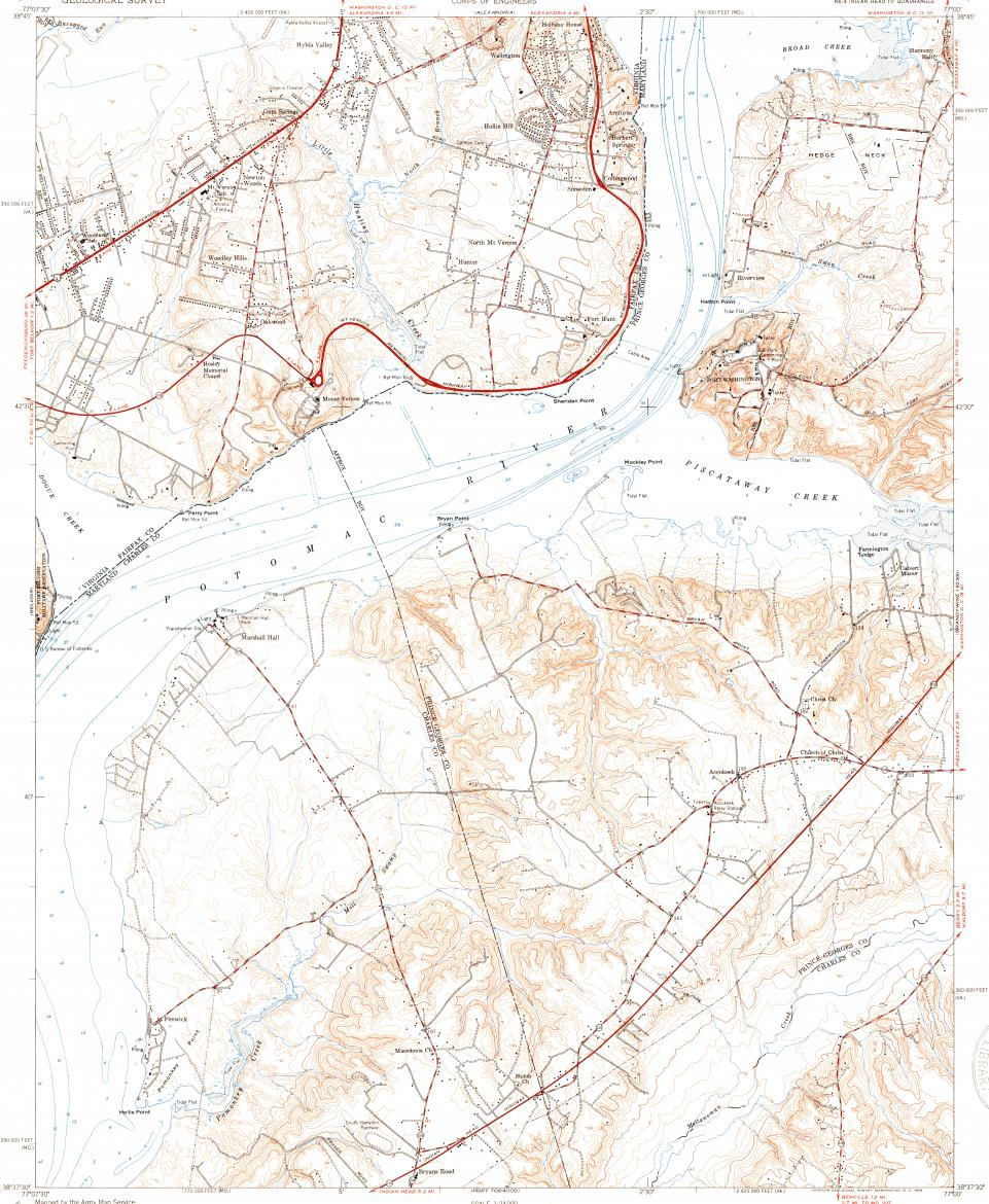 Fort Washington Map.Download Topographic Map In Area Of Mount Vernon Fort Washington