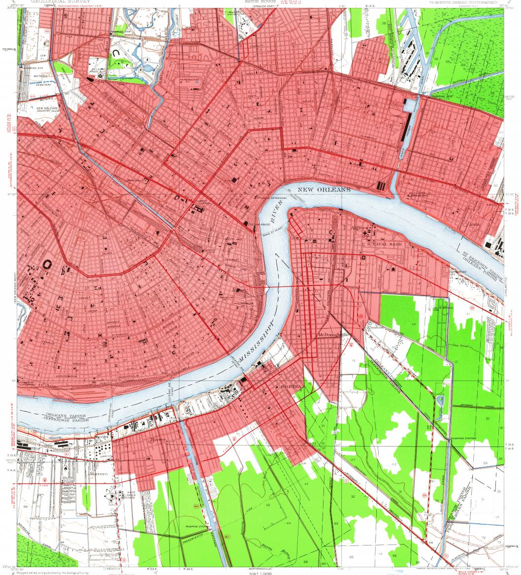 Download Topographic Map In Area Of New Orleans Marrero - Map of new orleans area