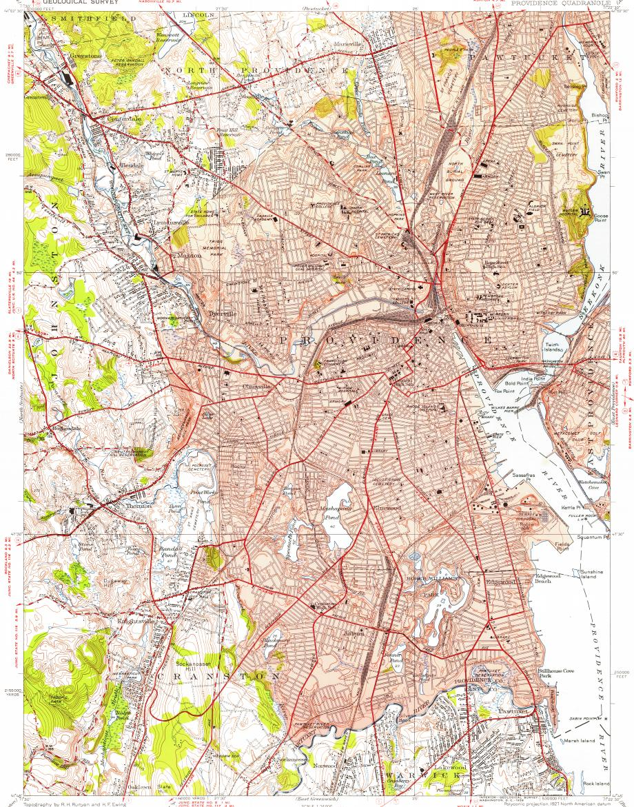 Download topographic map in area of Providence Cranston North