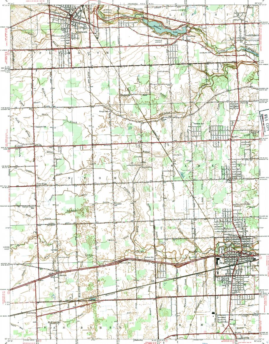 Download topographic map in area of Canton, Westland, Plymouth ...