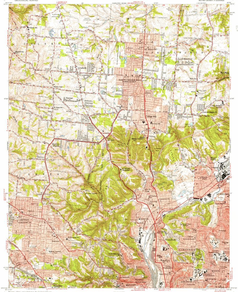 Download Topographic Map In Area Of Cincinnati North College Hill
