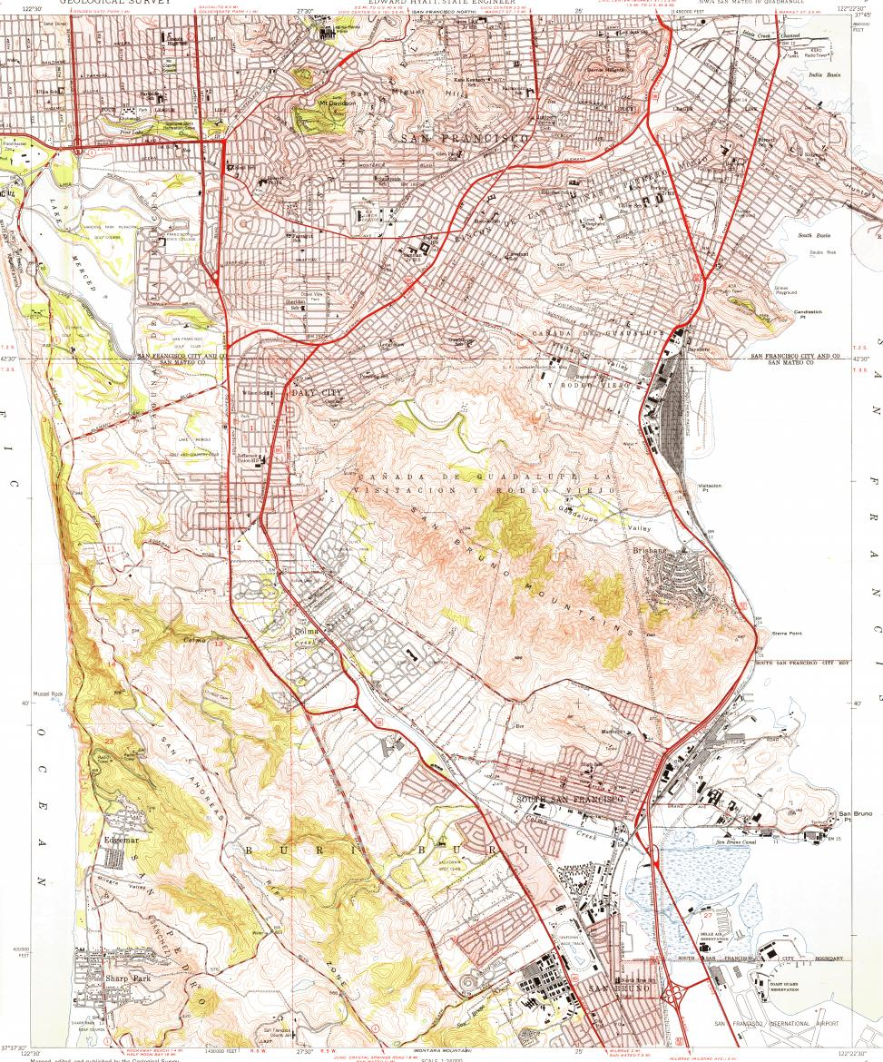 Download topographic map in area of Daly City, South San Francisco ...